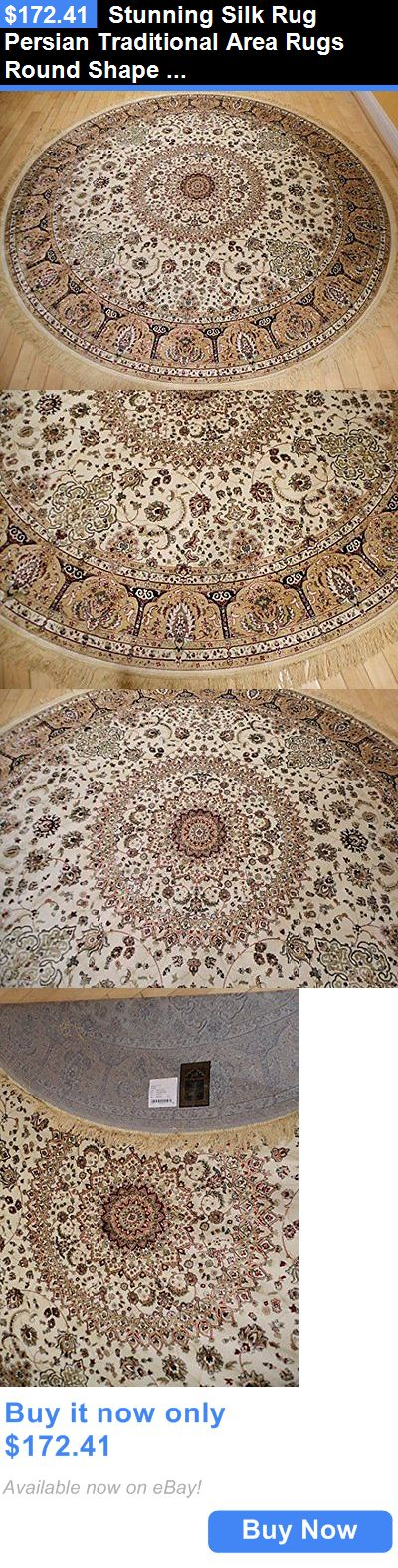 household items: Stunning Silk Rug Persian Traditional Area Rugs Round Shape Living Room Ivory 8 BUY IT NOW ONLY: $172.41