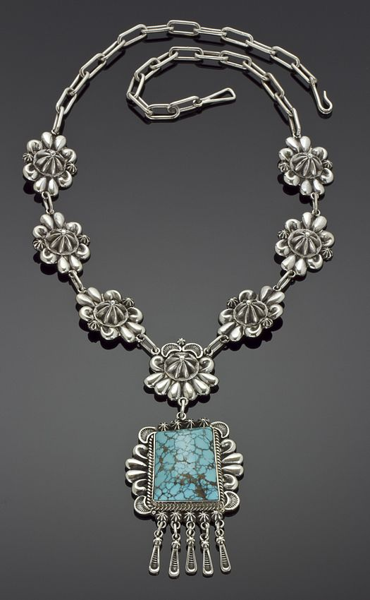 Necklace | Thomas Jim. Sterling silver with Indian Mountain turquoise stone