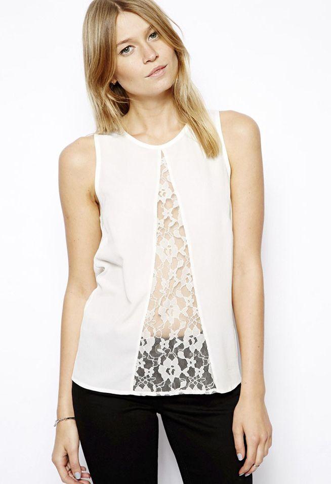 White Sleeveless Lace Chiffon Vest