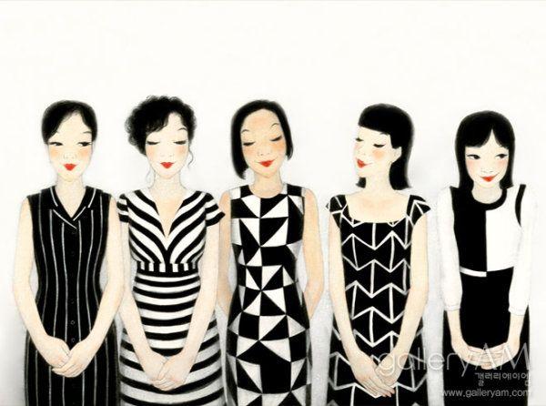 paintings by Youk Shim Won - 육심원   Ahhhh so cute <3