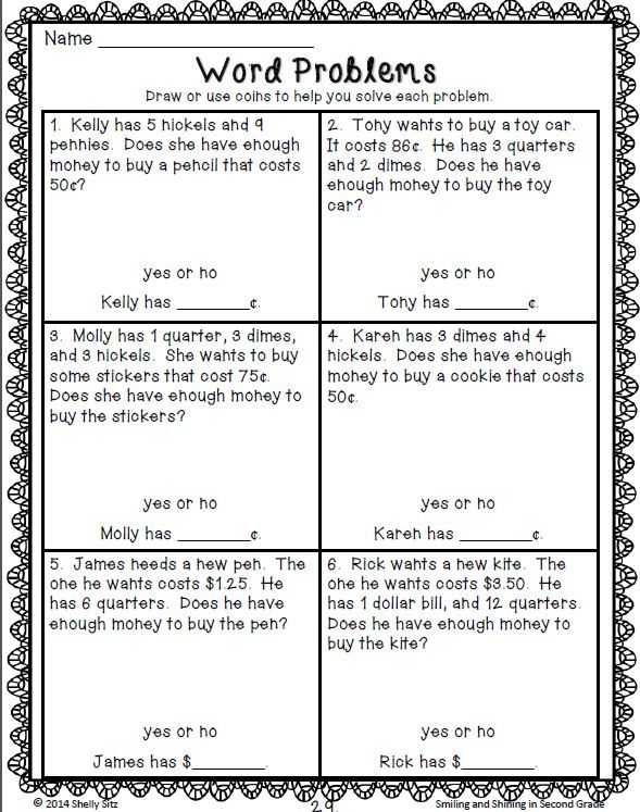 Second Grade Money Word Problems--Click on preview for free sample pages--2.MD.8--aligned with 2nd grade Common Core Math Standard