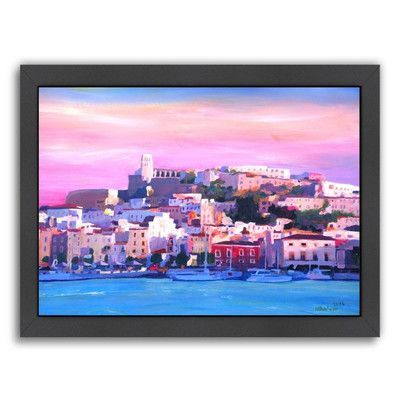 """East Urban Home Ibiza Old Town and Harbour Pearl of the Mediterranean Framed Original Painting Size: 20.5"""" H x 26.5"""" W x 1.5"""" D"""