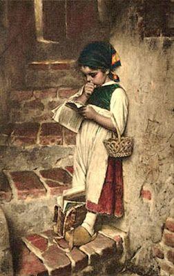 """""""Before school """". Hermann von Kaulbach (1846-1909), German painter."""