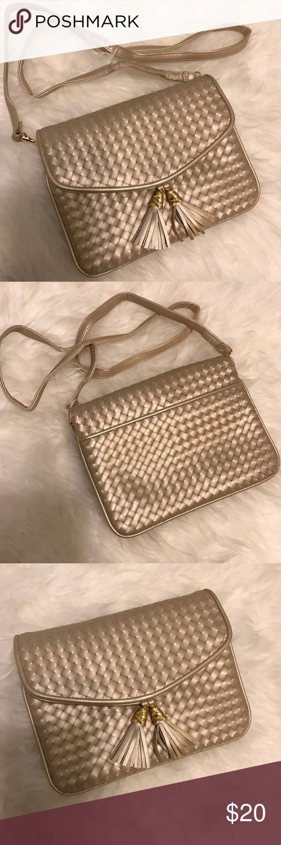 NWOT Classic clutch/handbag with detachable strap. NWOT Classic, woven (basket weave) neutral-toned, light beige, clutch/handbag with tassels detail. Very elegant. Bags Shoulder Bags