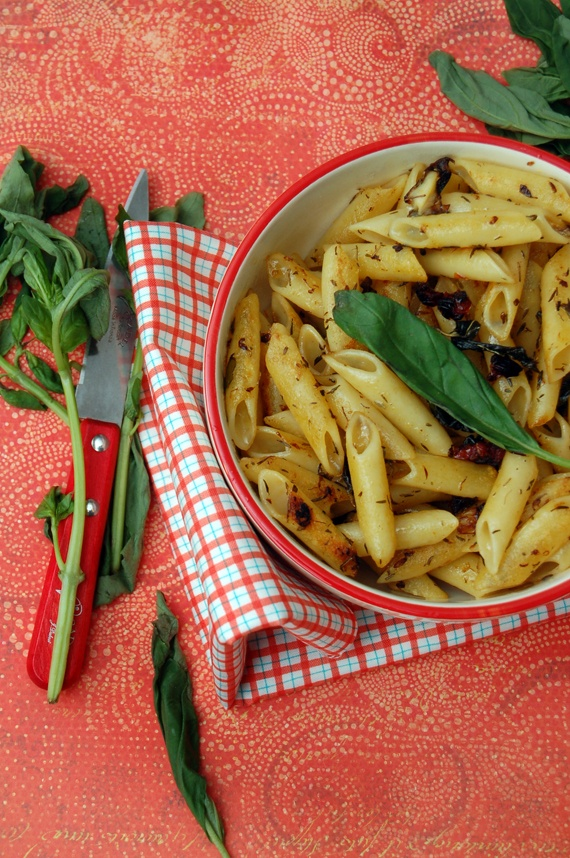Grilled Pasta with Basil & Lemon