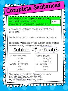 Free SUBJECT AND PREDICATE Blog Post on Paragraph Writing-COMPLETE SENTENCES.  Use these effective mini-lesson resources for your own anchor chart AND read about more ideas to go along with it.  Designed by Rockin Resources