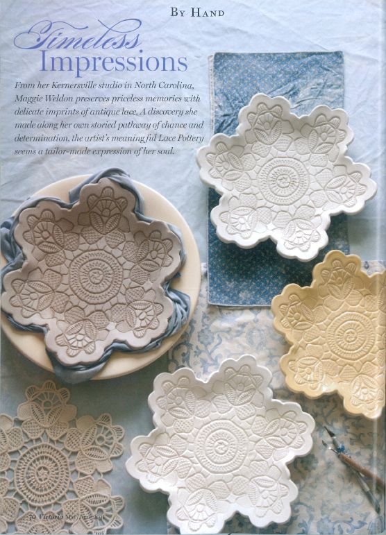 The dishes are made using craft porcelain, a clay-like material that requires no baking. (Craft porcelain is available at Hobby Lobby for $7.99.) After rolling out the craft porcelain, a piece of lace is pressed gently on top to create the design. A sharp instrument is then used to remove the excess. Placing the clay in a rounded container allows the piece to dry in the shape of the bowl. The piece will be dry in about 24 hours.