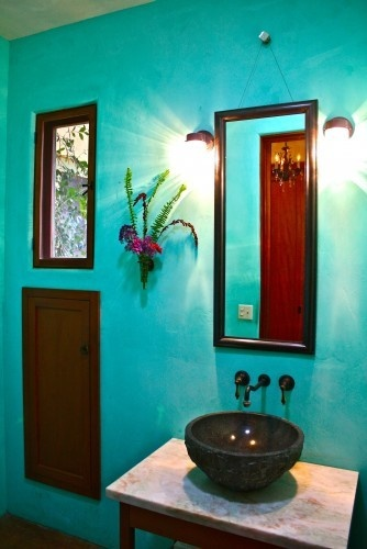 Turquoise Bathroom Thinking The Wood Is Right On To What