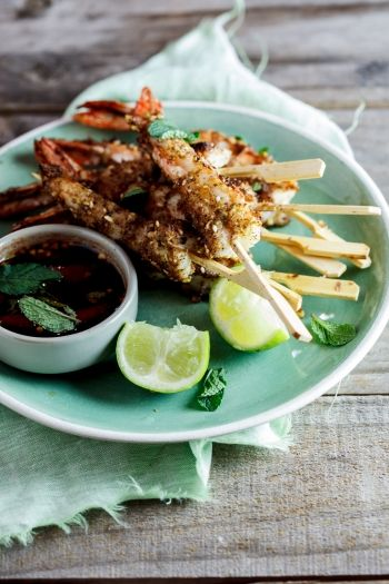 Dukkah Crusted Prawns with Chilli-Mint Syrup recipe.