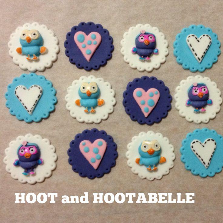 Hoot and Hootabelle Cupcake Toppers! www.facebook.com/EASYCAKEFUN