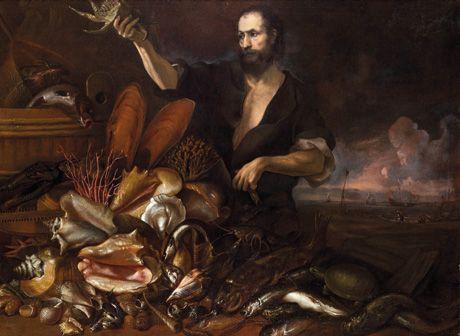 LUCA GIORDANO  (Napoli, 1632 - 1705)  GIUSEPPE RECCO (Napoli, 1634 - Alicante, 1695) Pescatore Olio su tela, cm 160X185 -