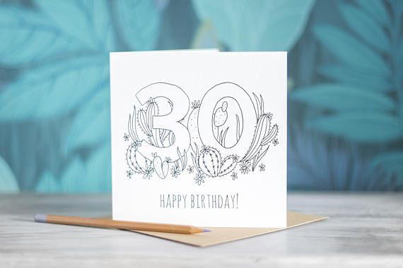 Colour-In Number/Age Birthday Card - 30 by PaperVeilStationery now at https://ift.tt/2K2BEBS