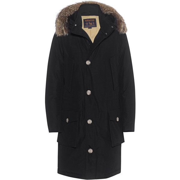 WOOLRICH Long Arcitc Parka DF Black // Down parka with fur trim ($990) ❤ liked on Polyvore featuring men's fashion, men's clothing, men's outerwear, men's coats, mens long parka coats, mens fur hood coat, mens long coat and mens parka coats