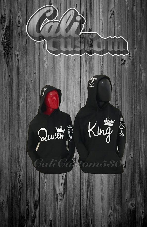 """2 Matching """"Queen"""" And """"King"""" Black Hoodies"""