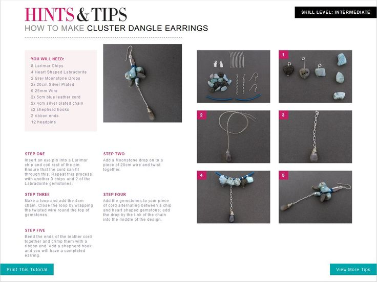 Learn to make your own Cluster Dangle Earrings with this free jewellery making tutorial.