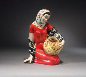 A Lenci polychrome pottery figure