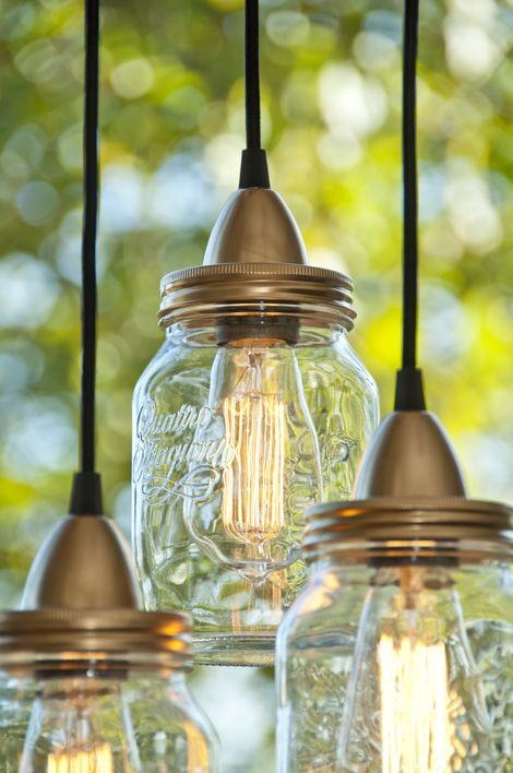 Jar Lamp DIY - jar, Edison light bulb (has a filament), lamp socket, punch hole in lid, add extra holes to vent heat from bulb. spray paint top/lid to make it match with socket. ...good idea for basement or fireplace...,etc.