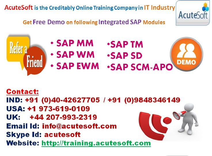 Get Free Demo for SAP Integrated Modules from AcuteSoft Solutions India Pvt.Ltd.