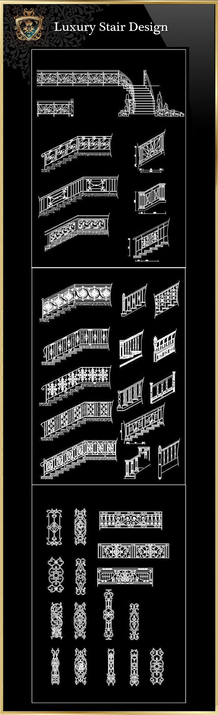Luxury Stair Design   Free Cad Blocks & Drawings Download Center