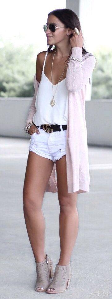 #summer #outfits  Pink Cardigan + White Tank + White Denim Short