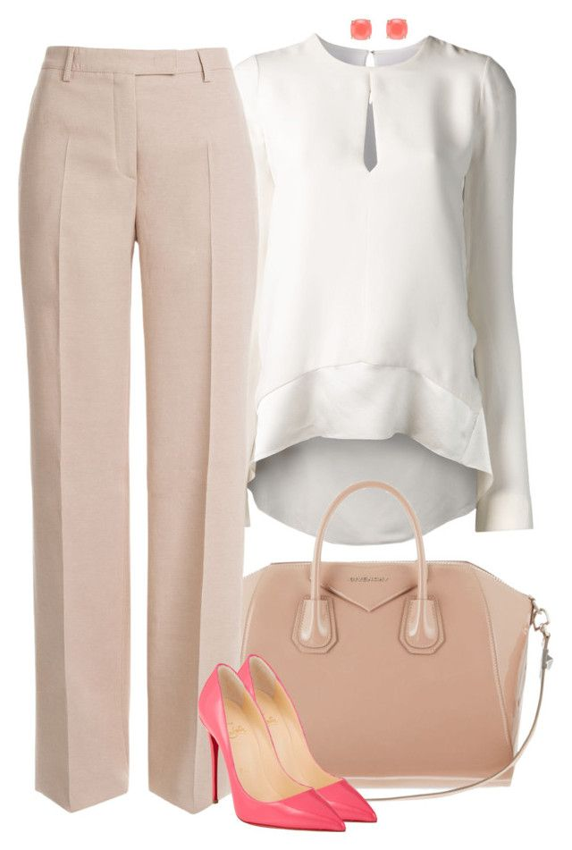 """Peaches and cream #fashion"" by ashley-loves ❤ liked on Polyvore featuring Narciso Rodriguez, Givenchy, Emilio Pucci, Christian Louboutin, Kate Spade, women's clothing, women, female, woman and misses"