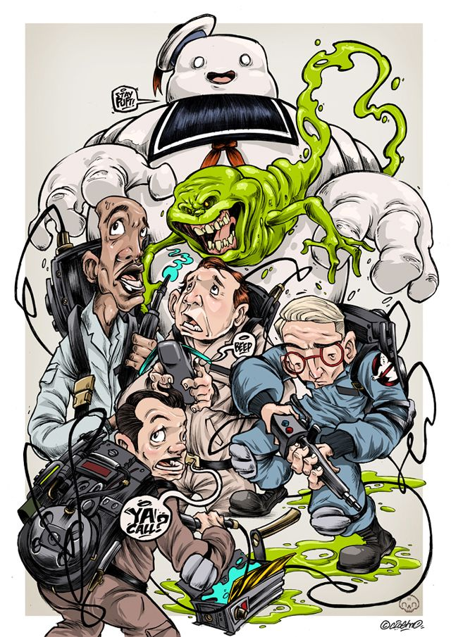 Stylized Illustration Featuring Ghostbusters Characters by Clogtwo