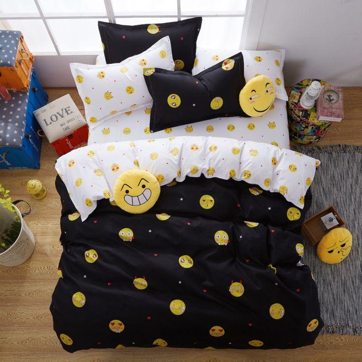 Solstício de Têxteis Lar Azul Bonito Dos Desenhos Animados Rosto Sorridente Emoji 3/4 Pcs Conjunto de Cama Capa de Edredão Folha De Cama De Solteiro Rainha Completo rei em Conjuntos de cama de Home & Garden no AliExpress.com | Alibaba Group