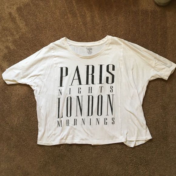 CUTE GRAPHIC TEE Like new condition, no stains. Text reads Paris nights, London mornings. Size XL crop top but I'm a small & wore it as an oversize shirt so it fits me regular length. Tops Tees - Short Sleeve