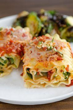 Spinach Lasagna Roll-Ups. This recipe includes lasagna noodles, spinach, cottage cheese, mozzarella, parmesan, spaghetti sauce.