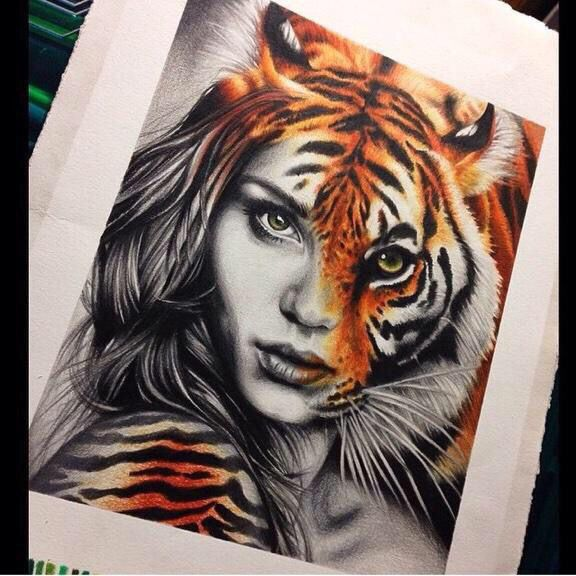 I'm going to try this with myself, but a lion instead of a tiger, bc the lion is my spirit animal.
