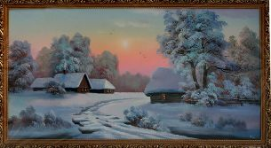 Зимняя деревня - Зимний пейзаж <- Картины маслом <- Картины - Каталог | Универсальный интернет-магазин подарков и сувениров