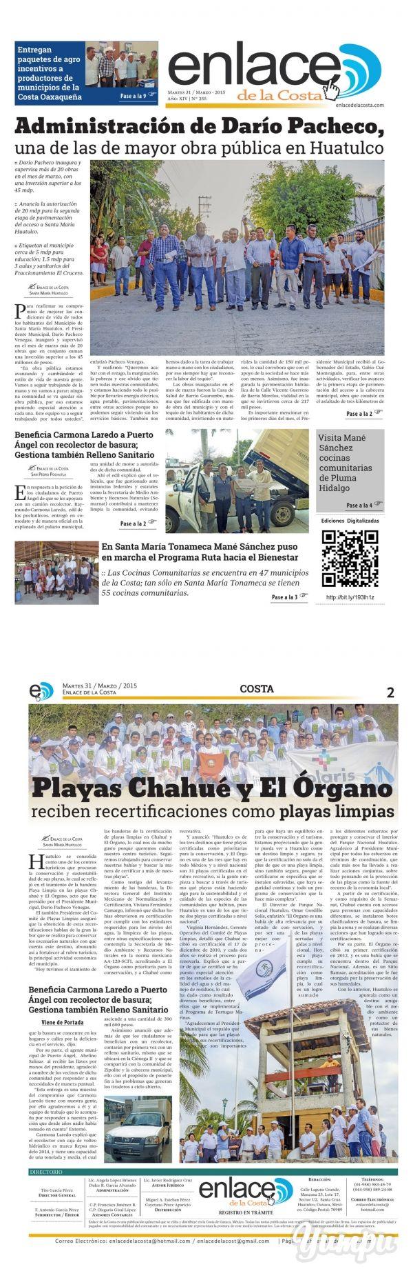 Edición 255; Enlace de la Costa - Magazine with 12 pages: Edición número 255 del periódico Enlace de la Costa, editado y distribuido en la Costa de Oaxaca, con información de la región y sus municipios