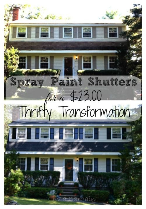 Spray Paint Shutters for a Thrifty $23.00 Transformation. Spend a beautiful day updating your shutters and house so easily. You will be thrilled with the results.