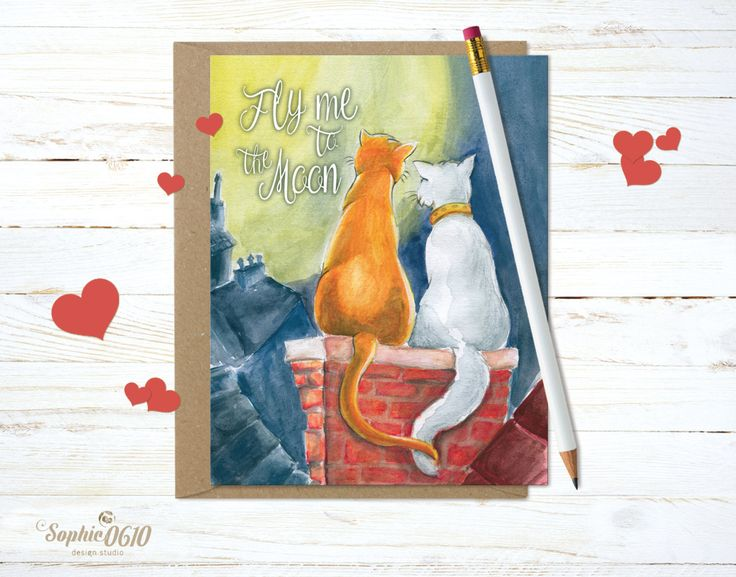 Printable love greeting card, cats in love, instant download by Sophie0610Designs on Etsy