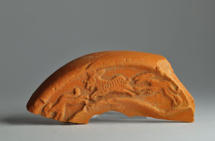 North African red slip oil lamp fragment with animal 3