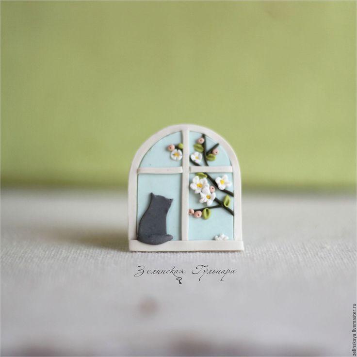 Купить Окошко в весну. Брошь - голубой, нежно-голубой, небо, окно, брошь окошко
