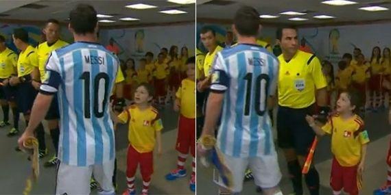 O atacante argentino Lionel Messi gerou confusão porque teria ignorado um pequeno fã,  antes do jogo entre Argentina e Bósnia, pela Copa do Mundo.