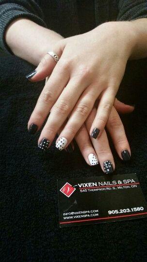 Shellac Mani with staggered dot nail art www.vixenspa.com