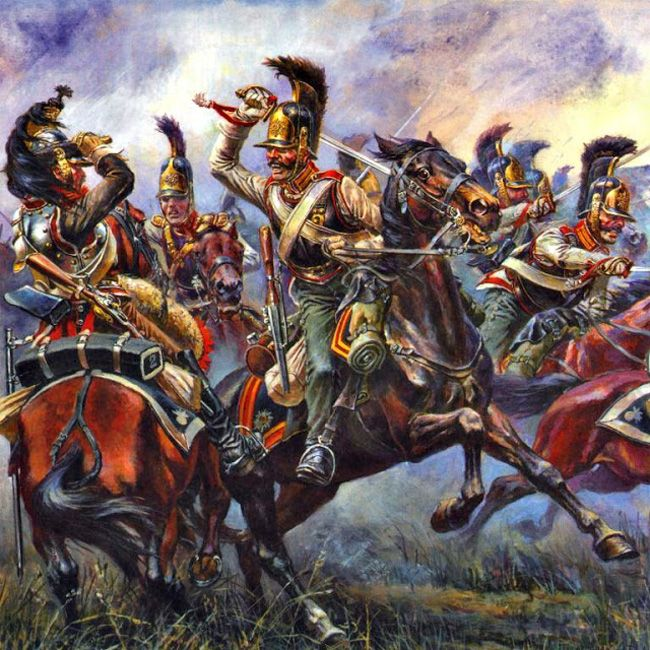 French Cuirassier fighting against the russian cuirassiers ...