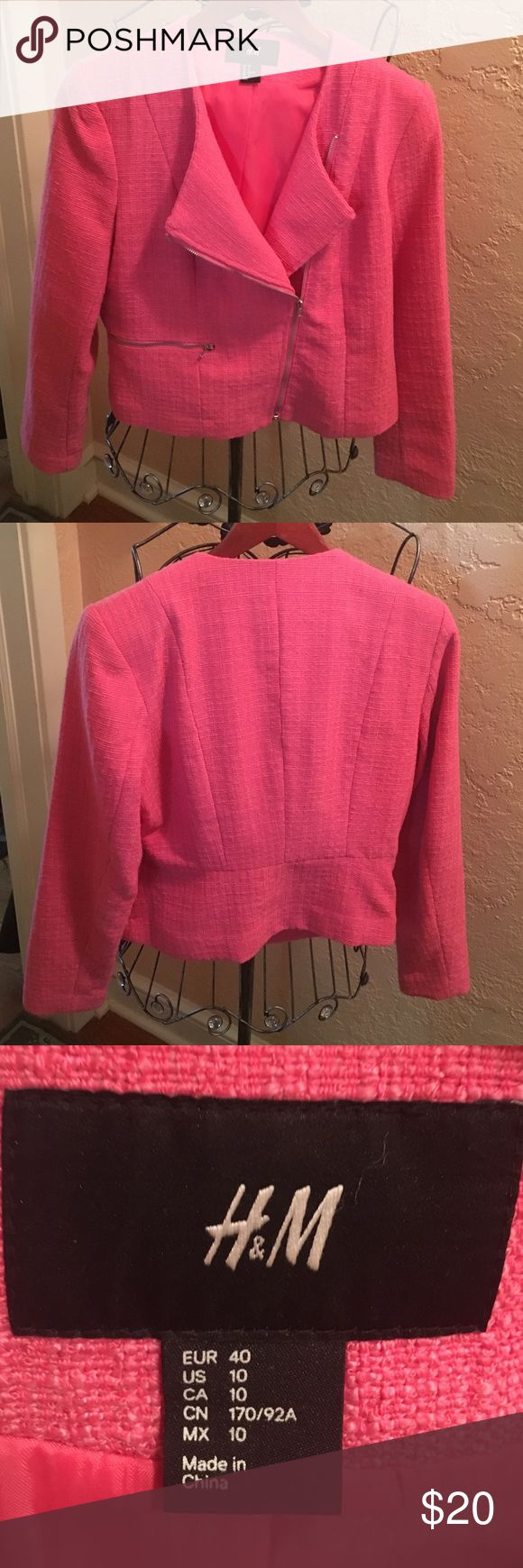 Selling this EASYER pink zip up jacket by H&M size 10 on Poshmark! My username is: susanpalonicola. #shopmycloset #poshmark #fashion #shopping #style #forsale #H&M #Jackets & Blazers