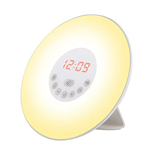 Wake Up Light Alarm Clock, GRDE Sunrise Simulator Alarm Clock with Night Light-Snooze function-Nature Sounds-FM Radio-USB Charger-Touch Control