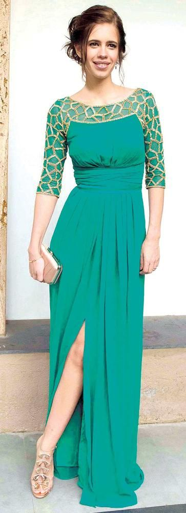 Kalki Koechlin in an Emerald green gown #Bollywood #Style #Fashion