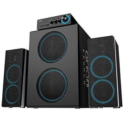 Arion Legacy Deep Sonar 750 Bone Crushing Bass Gigantic Size 2.1 PC Speakers with Dual Subwoofers and Control Box Connects TV Headphone Microphone and Charges USB Devices