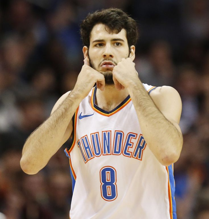 Oklahoma City\'s Alex Abrines (8) reacts after making a 3-point shot in the third quarter during an NBA basketball game between the Oklahoma City Thunder and the Denver Nuggets at Chesapeake Energy Arena in Oklahoma City, Monday, Dec. 18, 2017. Oklahoma City won 95-94. Photo by Nate Billings, The Oklahoman