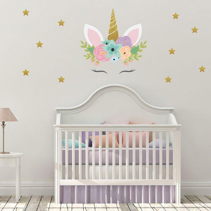 Unicorn Wall Decal Unicorn Nursery Decor Baby Girl Room | Etsy In 2021 | Unicorn Nursery, Nursery Decor Girl, Baby Girl Nursery Decor