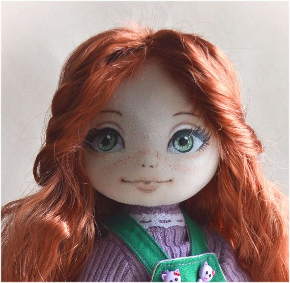 Ginger. Handmade textile doll. One of a kind. Free standart shipping