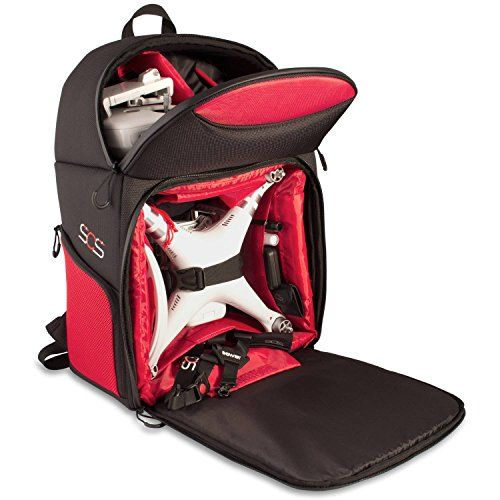 Drone Quadcopter Backpack Carrying Case For DJI P4 P3A P3P DJI Phantom 4 Phantom 1, 2, 3 Advanced Professional Quadcopter 4K UHD Video Camera and Similar Models (Black/Red) *** Visit the image link more details.