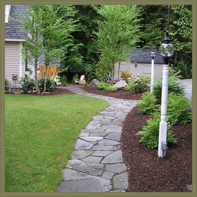 Simple walkway ideas walkways can be intricate stone for Landscaping ideas stone path