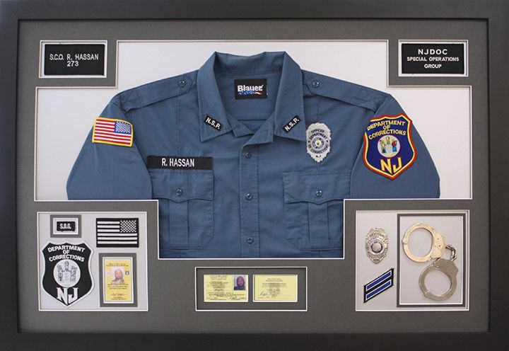 Custom framed uniform. Corrections, Police, Military.. You name it we frame it! Great retirement gift idea! Shadowbox created at Art and Frame Express in Edison NJ.