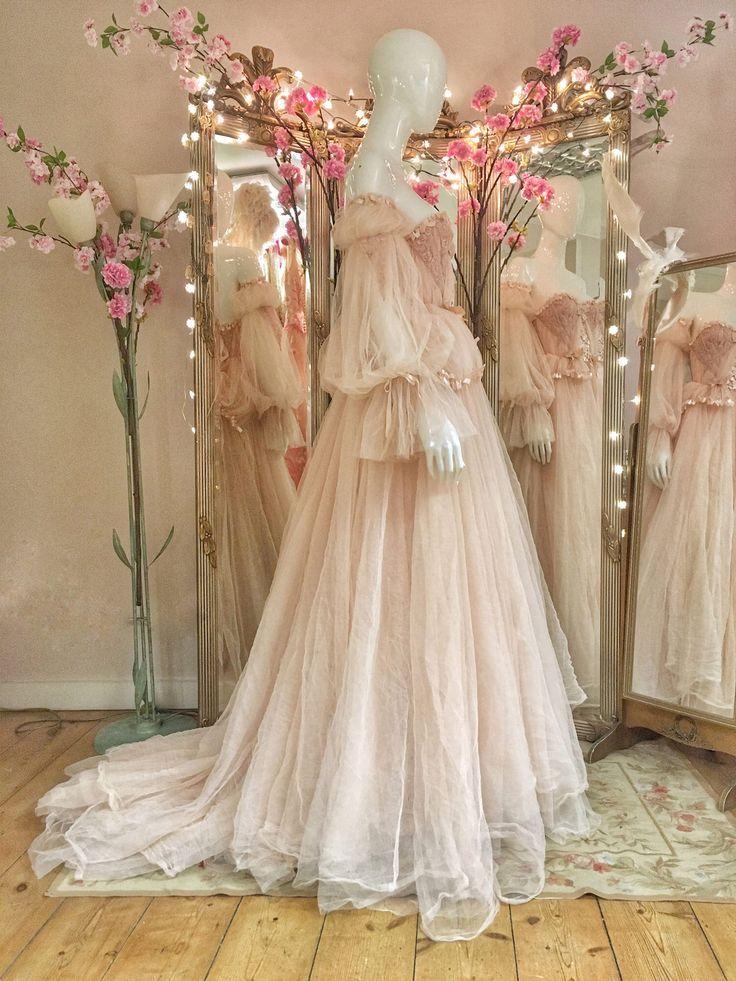 7293f2580de Blush tulle and lace romantic fairytale wedding dress by Joanne Fleming  Design